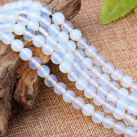 DIY Bracelets Bead White Opal Gemstone Round Spacer Loose Beads 6mm 8mm 10mm