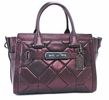 COACH New Metallic Patchwork Swagger 27 Satchel Cherry MSRP $550