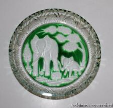 Royal Germania Cut Crystal Mother's Day Plate Dish Elephant Green Clear 1972