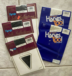 5 pr Hanes Too Pantyhose sz A-B Black White Pearl Light Support & Control Top
