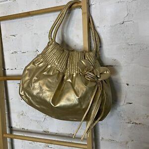 Target Metallic Gold Faux Leather Hobo Bag Handbag Flower Vegan Friendly