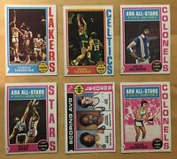 1974-75 Topps Julius Erving, Gilmore, Hawkins & More Lot Of (6) Basketball Cards