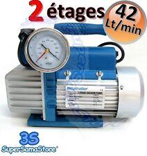 3S POMPE A VIDE CLIM FRIGORISTE DOUBLE étages 42 Lt/min électrovanne vacuomètre