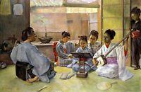 Music Lesson by Shirataki Ikunosuke. Oriental Repro Print on Canvas or Paper