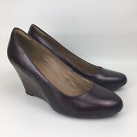CLARKS ARTISAN Size 6.5 UK Maroon Snakeskin Patent Leather Wedge Court Shoes