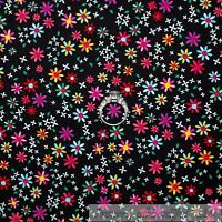 BonEful Fabric FQ Cotton Quilt VTG Rainbow Color Red Pink Yellow Flower Tiny Dot