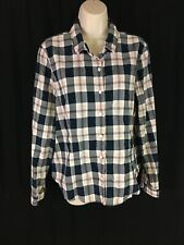 Tommy Hilfiger Juniors Size XL Plaid Pink Navy White Button Up Long Sleeve EUC