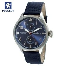 Peugeot - 2044SBL Mens Silver Blue Nylon Band Day Date Calendar Aviator Weekend