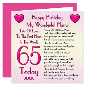 My Nana Lots Of Love Happy Birthday Card - Age 50 - 80 Years - Verse from Child