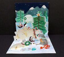 Arctic Animals 3D Pop-Up Christmas Card Polar Bear Penguin Tree Holiday Card
