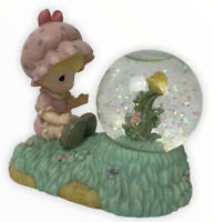 Vintage Precious Moments Snow Globe 1998 Girl And A Pink Yellow Flower Enesco