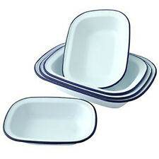 Falcon Enamelware Oblong Pie Dish White Cookware Bakeware Oven Puddings -7 sizes