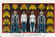 GILBERT AND GEORGE HAND SIGNED 6X4 POSTCARD COWLED.