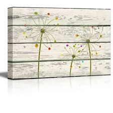 Art Deco Flowers Artwork - Rustic Canvas Wall Art Home Decor - 12x18 inches