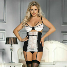 Sexy Black White Plus Size Girdle Open Cup Peephole Lace Bra Suspender Set 8-22