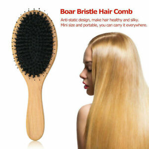 HARD OR SOFT SINGLE WOOD BRUSH BOAR  BRISTLES HAIR BRUSH COMB