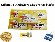 5 X 5=25 Gillette 7 O'Clock Shaving Razor Stainless steel safety Blades barber