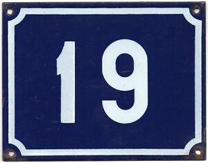 Large old French house number 19 door gate plate plaque enamel steel metal sign