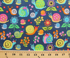Snails Glasses Flowers Kids Navy Organic Cotton Fabric Print by the Yard D763.48