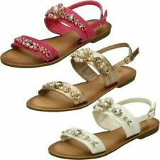 Girls Spot On Pearl Jewel Trim 'Sandals'