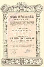 Motores de Explosion SA, certificado 5 acciones, Barcelona, 1957