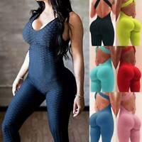 Women Push Up Yoga Anti-Cellulite Jumpsuit Butt Lift Leggings Fitness Gym Pants