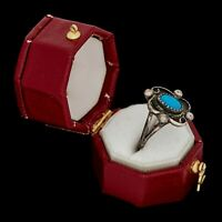 Antique Vintage Sterling Coin Silver Native Navajo Pawn Turquoise Ring Sz 4.25