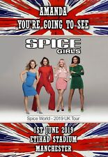Spice girls Concert Gift tour card ticket present. ANY TEXT DATE  birthday 2