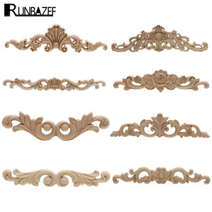 Rectangle Carving Natural Wood Appliques For Furniture Cabinet Unpainted Wooden