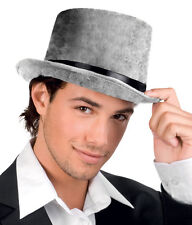 Mens Ladies Victorian Grey Top Hat Velvet Steampunk Fancy Dress Costume NEW
