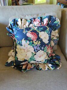 Vintage 1990s  Ralph Lauren?  Ruffled Throw Pillow Floral Cotton 22x22