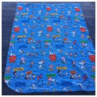 """70s VTG 100"""" x 80"""" PEANUTS CHARLIE BROWN SNOOPY Lucy WOODSTOCK Blanket Quilted"""