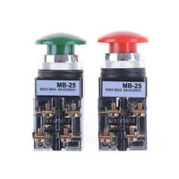 2Pcs Red Green AC 250V 6A DPST Momentary Mushroom Head Push Button Switch B3O