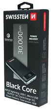 Swissten Black Core Power Bank Akku - Lightning USB C Micro USB 30.000 mAh
