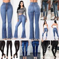 Women Pencil Skinny Slim Jeans Pants High Waist Stretch Casual Trousers Leggings