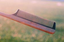 Handmade Rat Tail Sandalwood Buffalo Horn Hair Comb +Polished+No Static+Natural