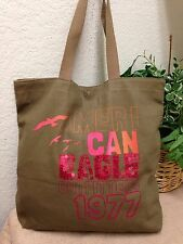 American Eagle Outfitters Green Canvas Sequin Tote Bag Shoulder Handbag EXC