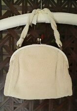 VINTAGE 1950's EVENING BAG IVORY CORDE-BEAD  PURSE & STRAP & BEADED DIVIDER