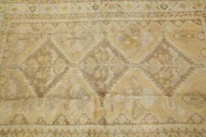 Antique Geometric MUTED Tribal Area Rug Distressed Gold Oriental Carpet 4'x6'
