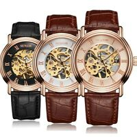 Luxury Mens Leather Transparent Skeleton Hand-wind Mechanical Sport Wrist Watch