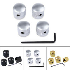 4Pcs Color Silver Metal Volume Tone Control Knobs Electric Guitar Bass Dome V1