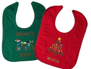 Personalised Embroidered 1st Christmas 2021 Xmas Baby Toddler Bib Boy Girl Gift