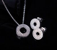 Sterling Silver Cubic Zirconia Circle Stud Earrings Pendant Necklace Set GiftP25
