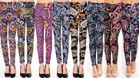 New Women's Plus Size Paisley Print Leggings Workout Pants O/S 1X-2X