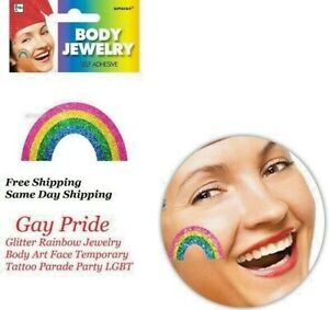 Gay Pride Glitter Rainbow Jewelry Body Art Temporary Tattoo Parade Party LGBT