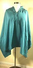 NIP ROAMAN'S Plus Size 3X/4X Stretch Knit Fleece Hooded Poncho Teal Green