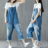 Casual Women's Denim Ripped Overalls Romper Jeans Bib Pants Dungaree Jumpsuits