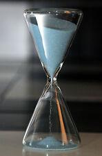 ⌛⌛ DUAL PYRAMID SHAPE BRIGHT SKY BLUE SAND HOURGLASS TIMER CLEAR GLASS 12 min ⌛⌛