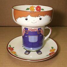 Vintage Interpur Child's Stoneware 3 Piece Boy Stacking Bowl Mug Plate Meal Set