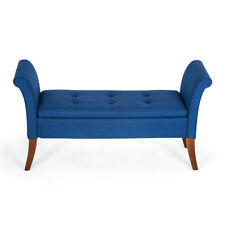 Button Tufted Storage Settee Couch Vintage Bench Bedroom w/Wood Legs, Blue